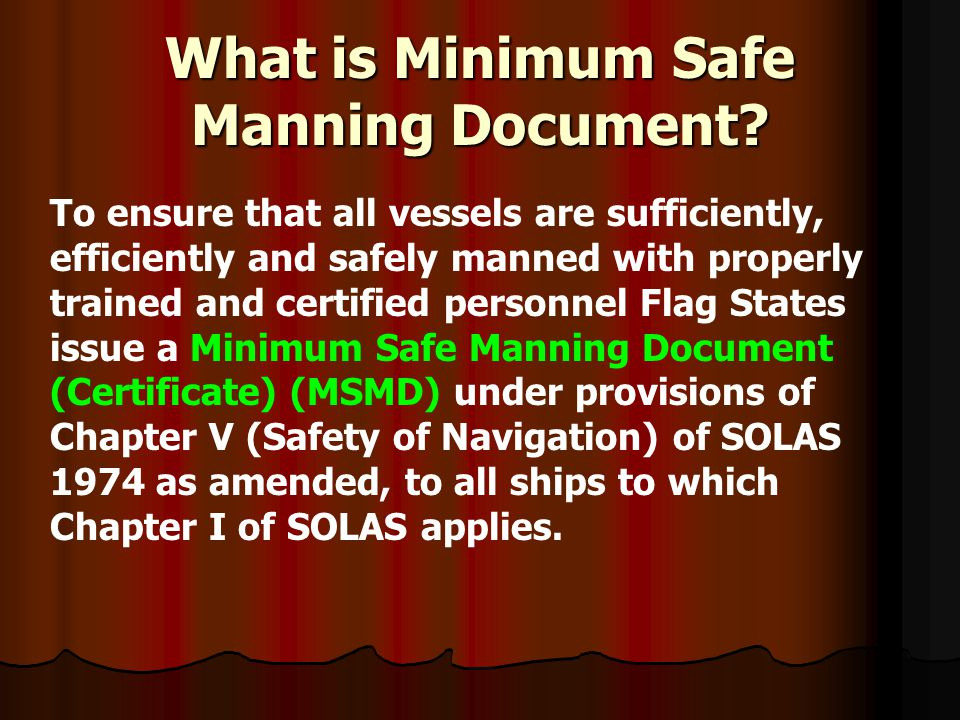 What is Minimum Safe Manning Document