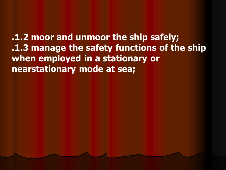 .1.2 moor and unmoor the ship safely;