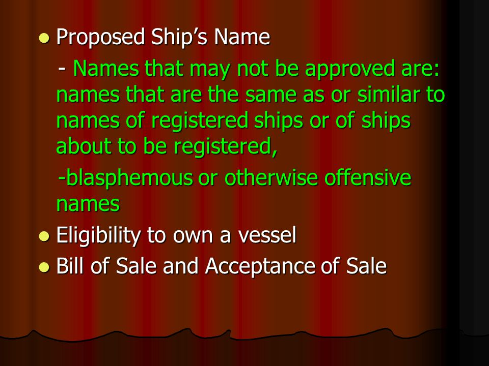 Proposed Ship's Name