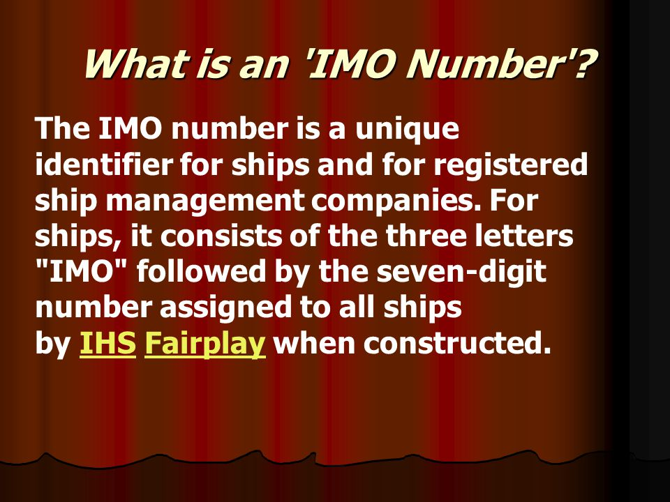 What is an IMO Number