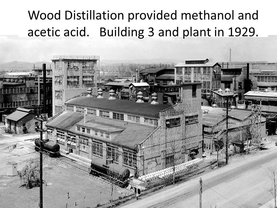 Wood Distillation provided methanol and acetic acid