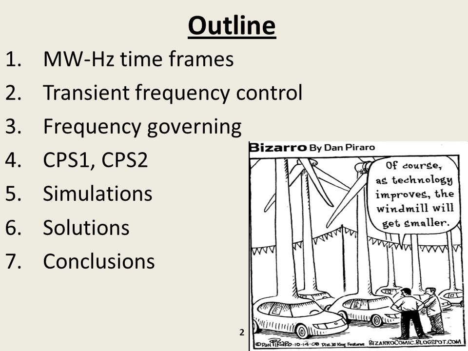 Outline MW-Hz time frames Transient frequency control