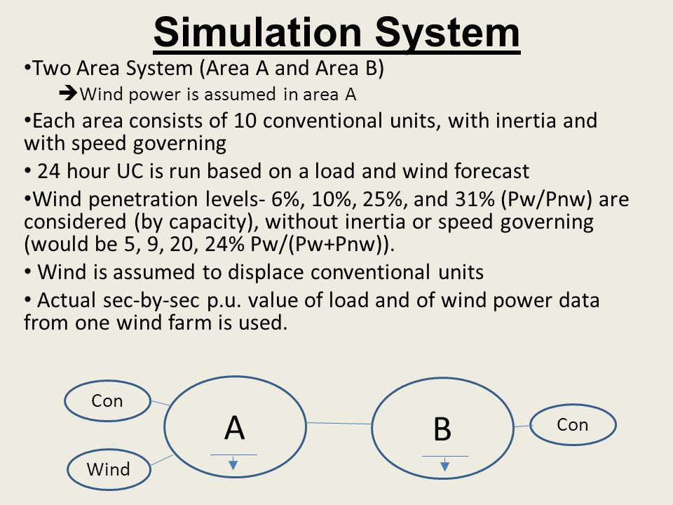 Simulation System A B Two Area System (Area A and Area B)
