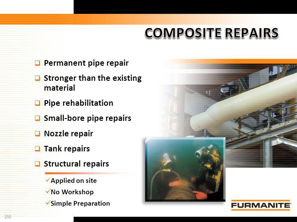 COMPOSITE REPAIRS Permanent pipe repair