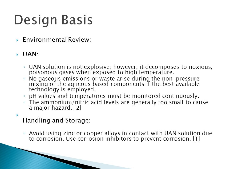 Design Basis Environmental Review: UAN: Handling and Storage: