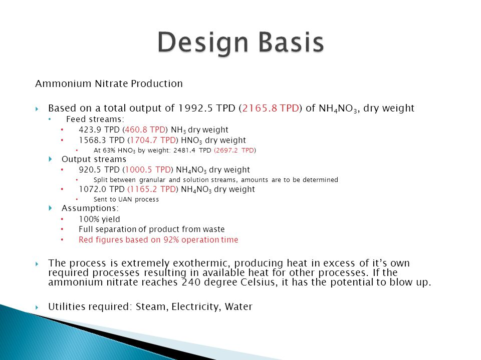 Design Basis Ammonium Nitrate Production