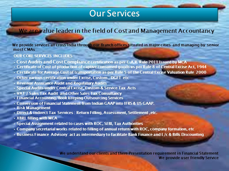 We are value leader in the field of Cost and Management Accountancy