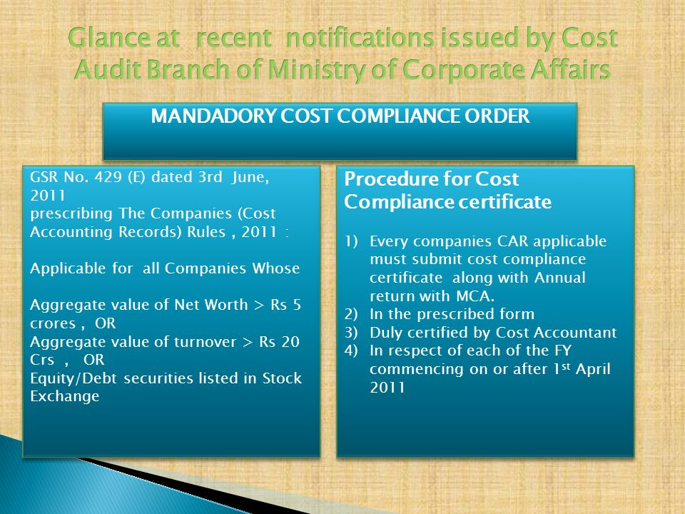 MANDADORY COST COMPLIANCE ORDER