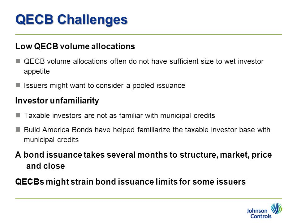 QECB Challenges Low QECB volume allocations Investor unfamiliarity