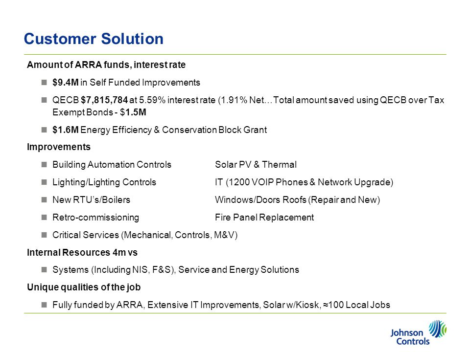 Customer Solution Amount of ARRA funds, interest rate