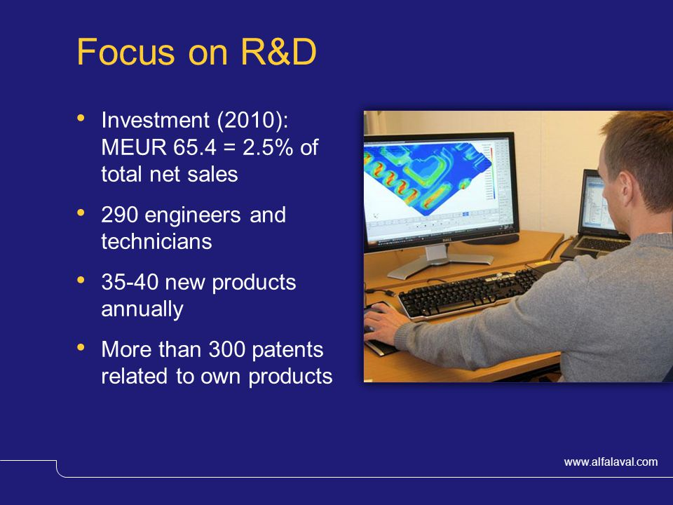 Focus on R&D Investment (2010): MEUR 65.4 = 2.5% of total net sales