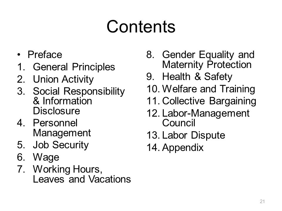Contents Preface General Principles Union Activity