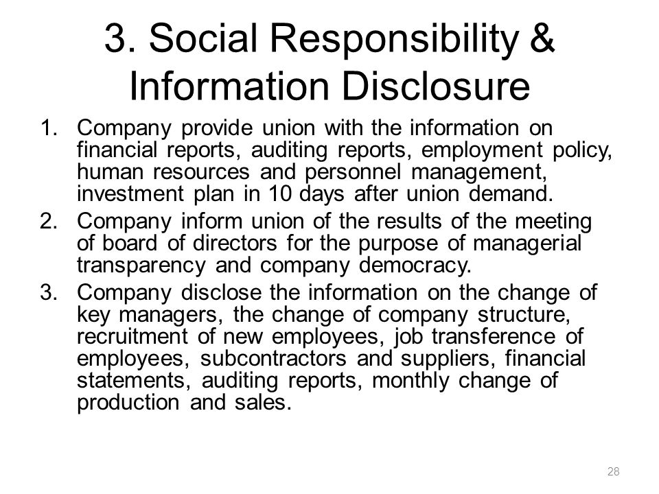 3. Social Responsibility & Information Disclosure