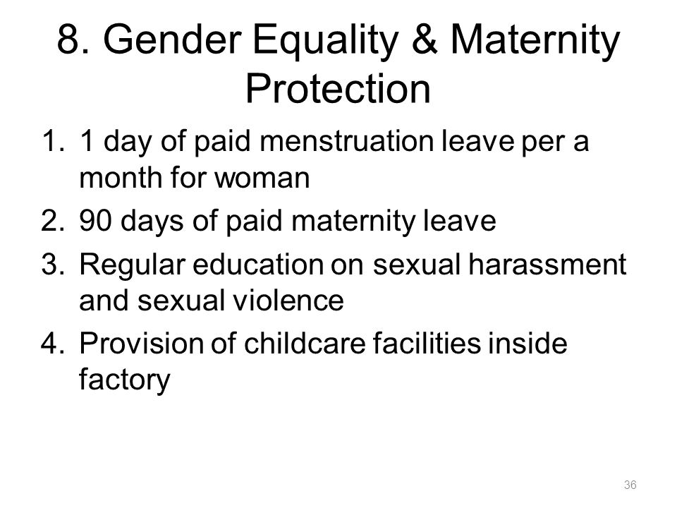 8. Gender Equality & Maternity Protection