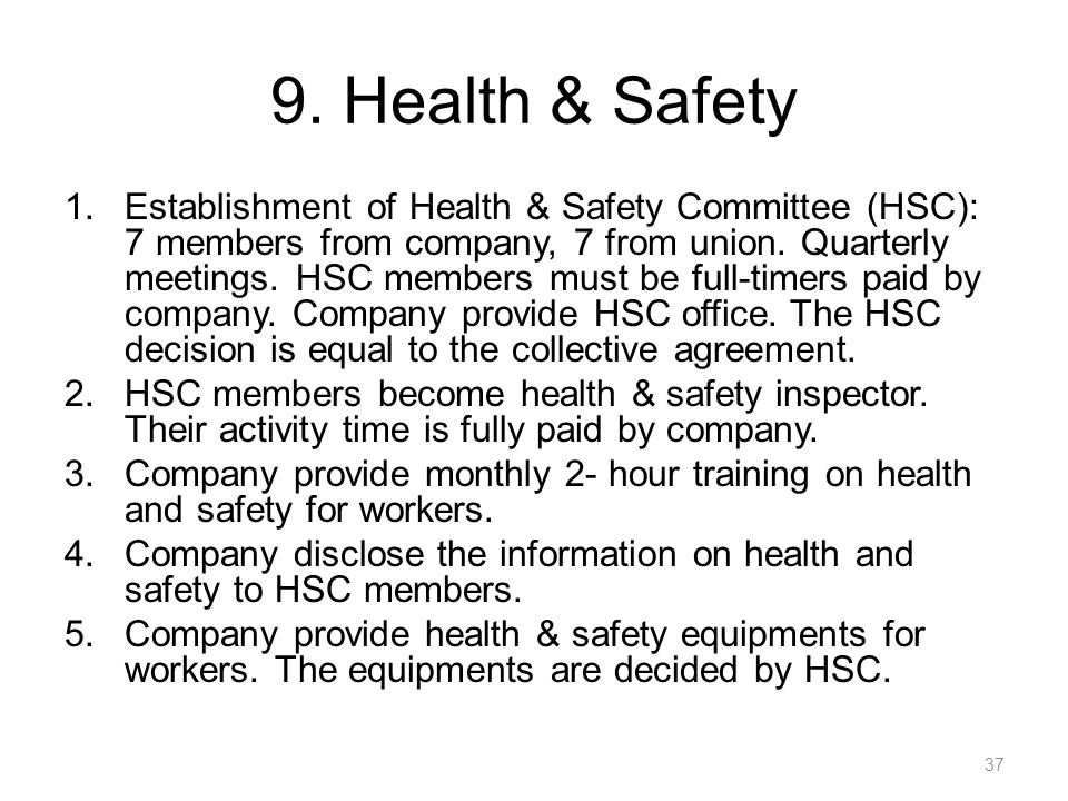 9. Health & Safety