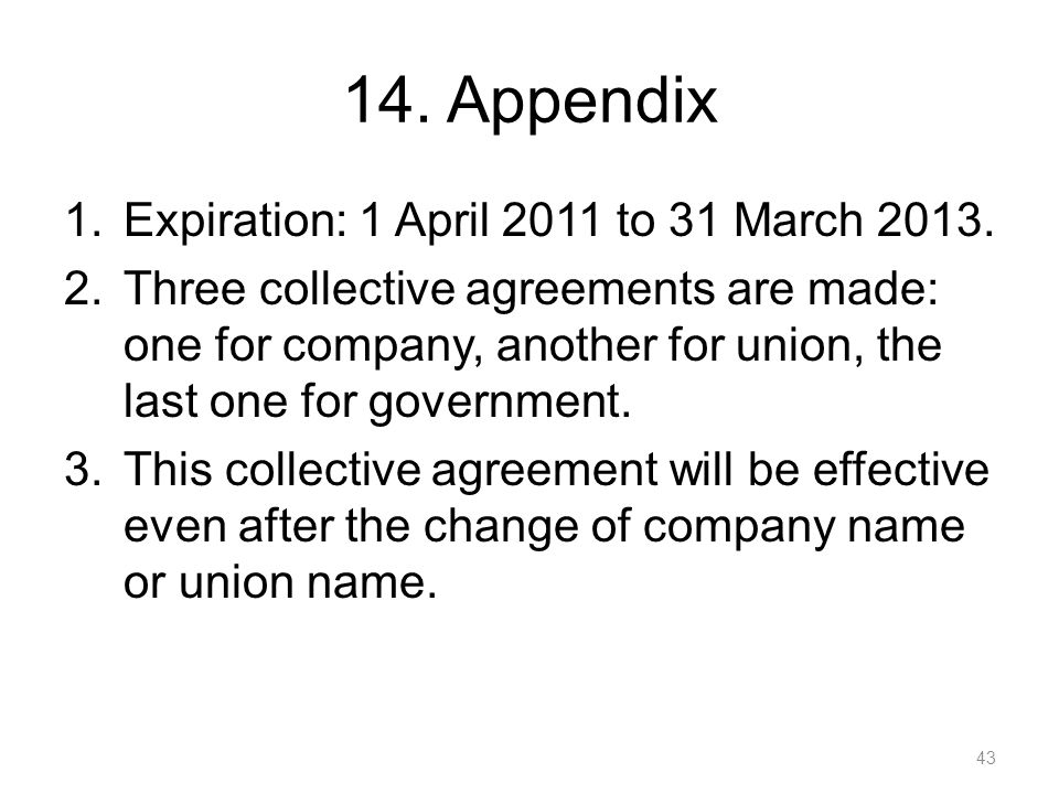 14. Appendix Expiration: 1 April 2011 to 31 March 2013.