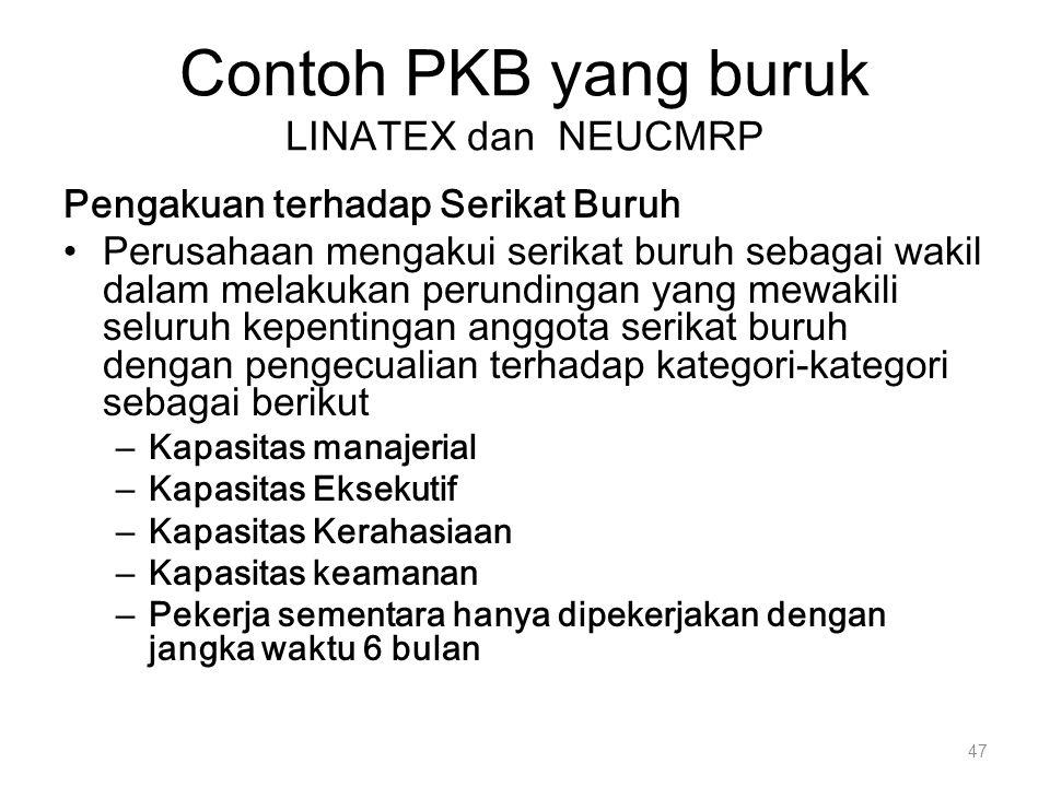 Contoh PKB yang buruk LINATEX dan NEUCMRP