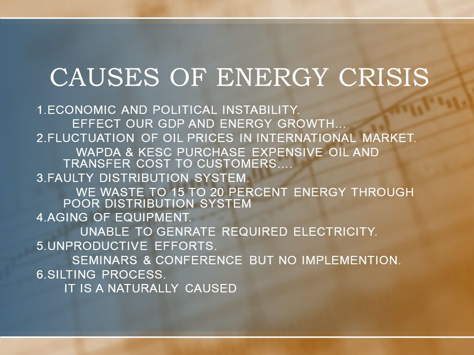 the political and economic consequences of the energy crisis in chile That are not influenced by short-term political interests finally, based on the   the recent electricity crises of california (2000-2001), brazil (2001) and chile.
