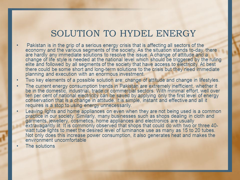 SOLUTION TO HYDEL ENERGY