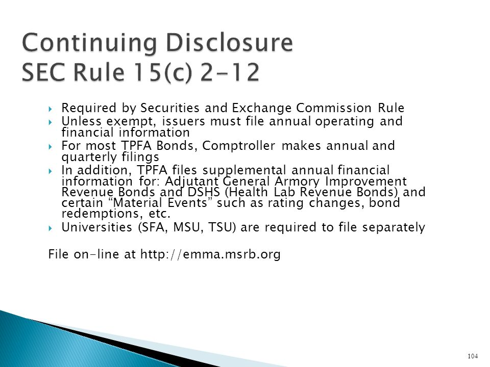 Continuing Disclosure SEC Rule 15(c) 2-12