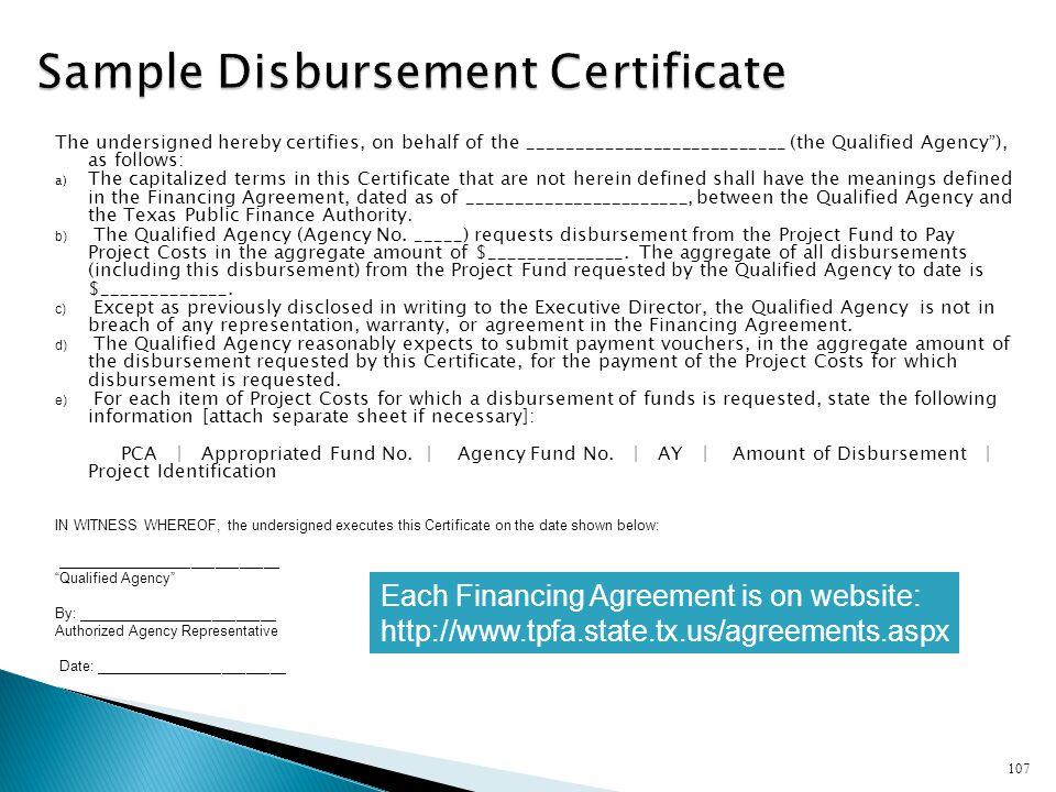Sample Disbursement Certificate