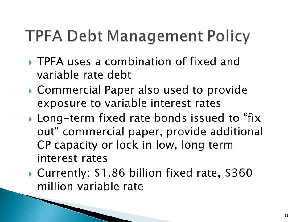 TPFA Debt Management Policy