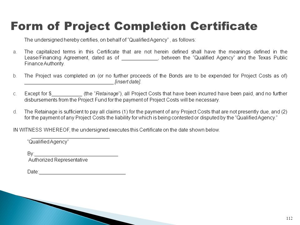 Form of Project Completion Certificate