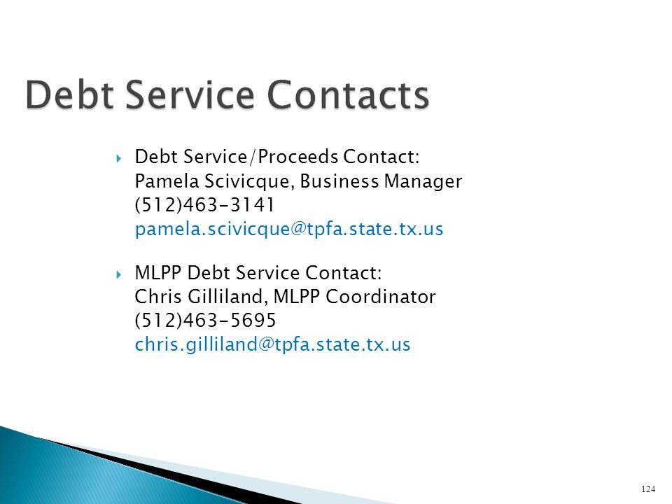 Debt Service Contacts Debt Service/Proceeds Contact: