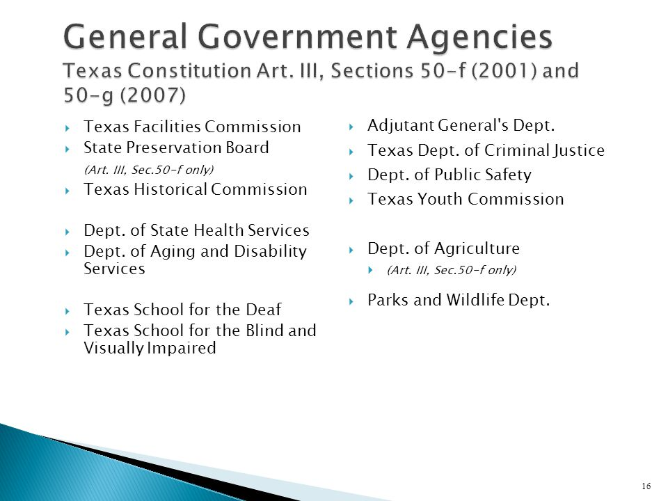 General Government Agencies Texas Constitution Art