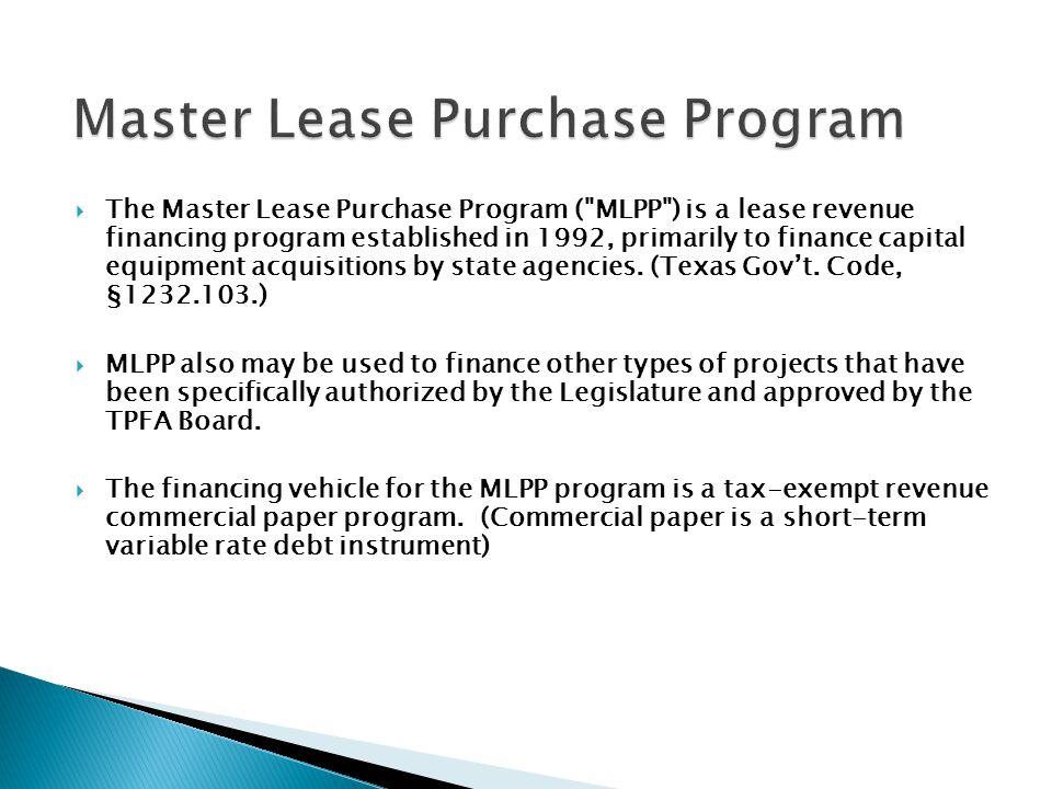 Master Lease Purchase Program