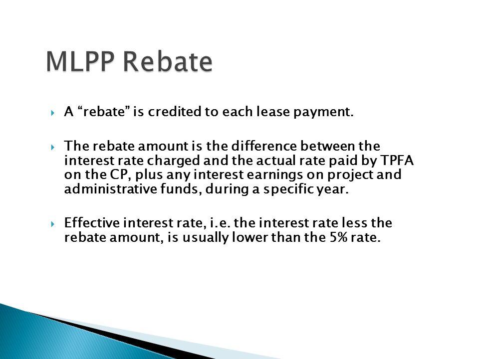MLPP Rebate A rebate is credited to each lease payment.