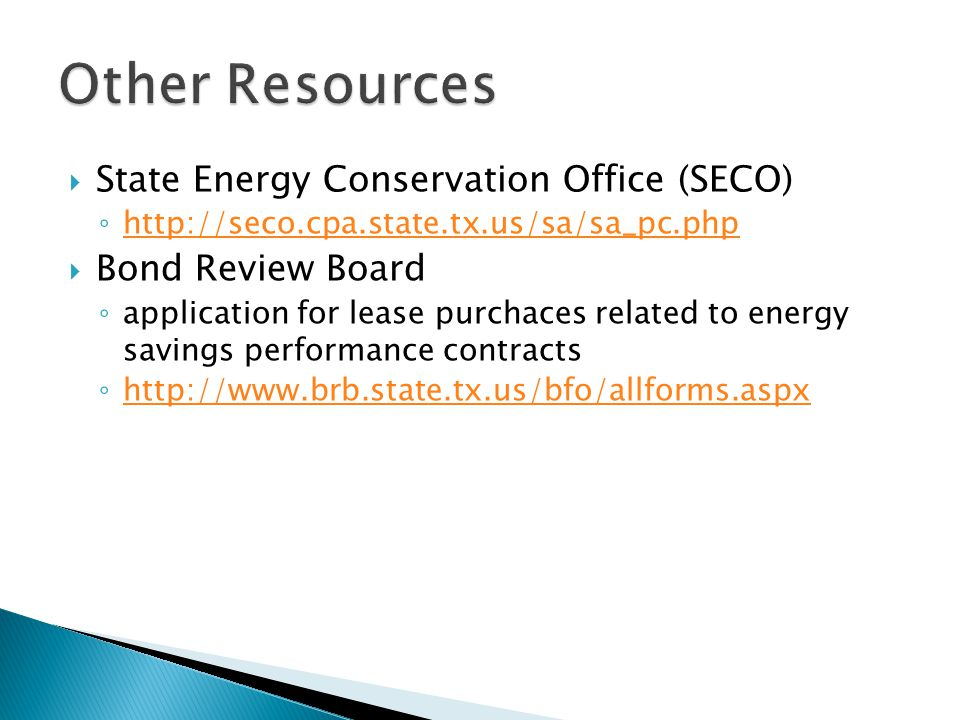 Other Resources State Energy Conservation Office (SECO)