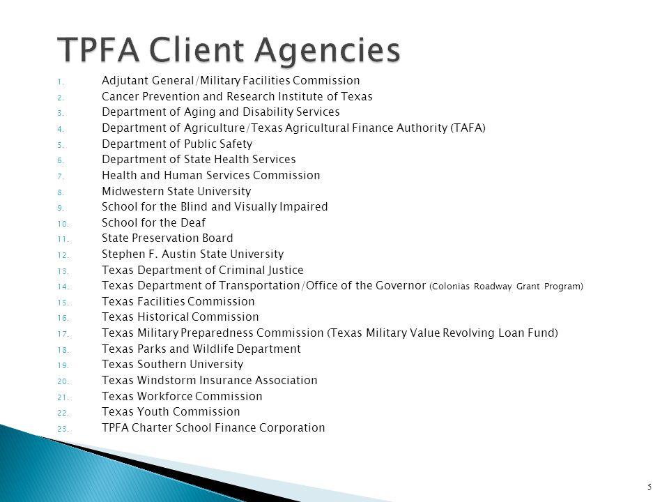 TPFA Client Agencies Adjutant General/Military Facilities Commission