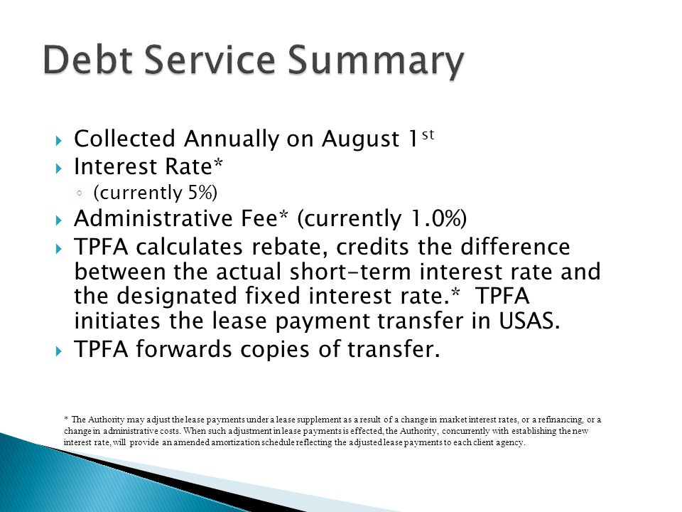 Debt Service Summary Collected Annually on August 1st Interest Rate*