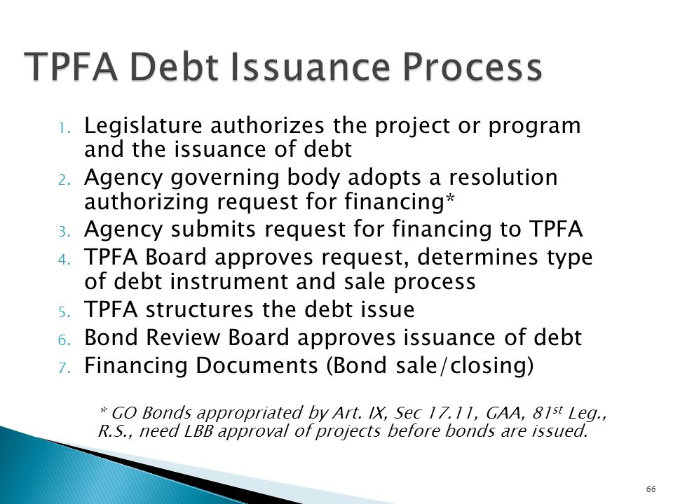 TPFA Debt Issuance Process