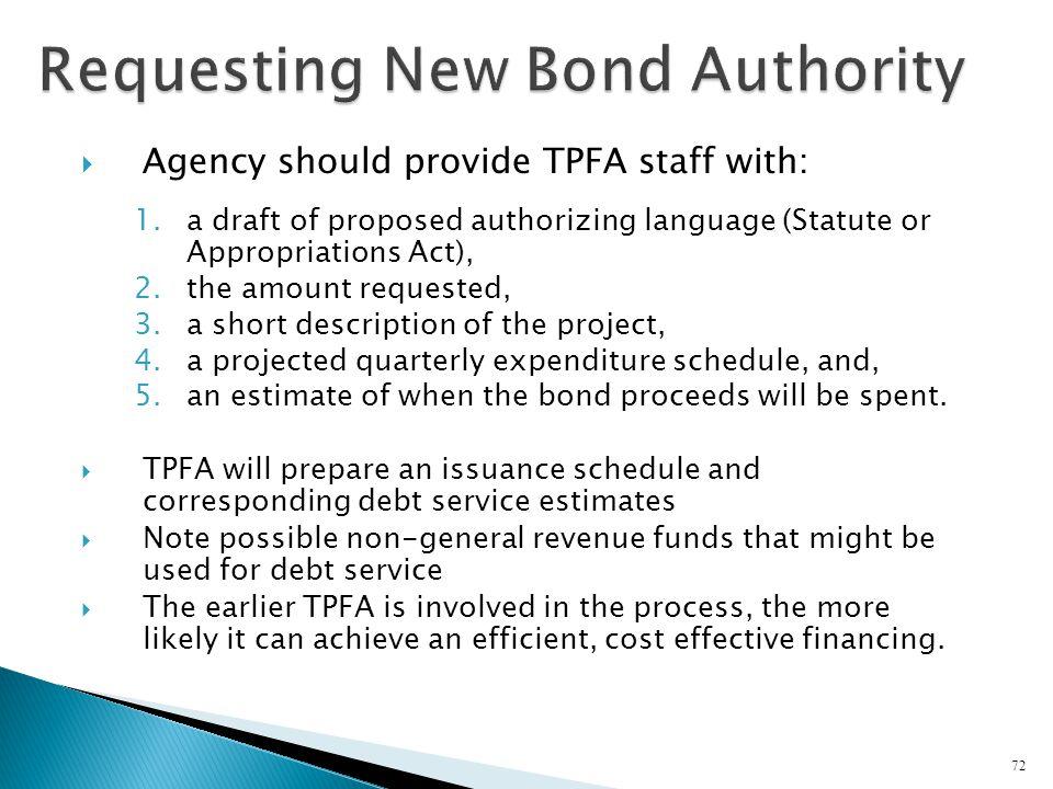 Requesting New Bond Authority
