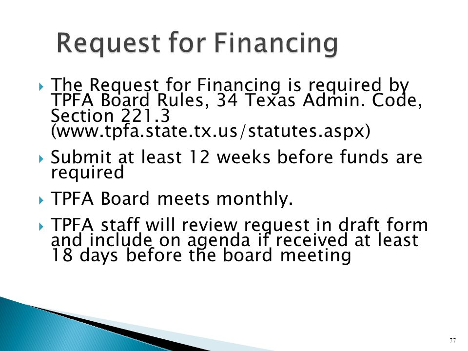 Request for Financing