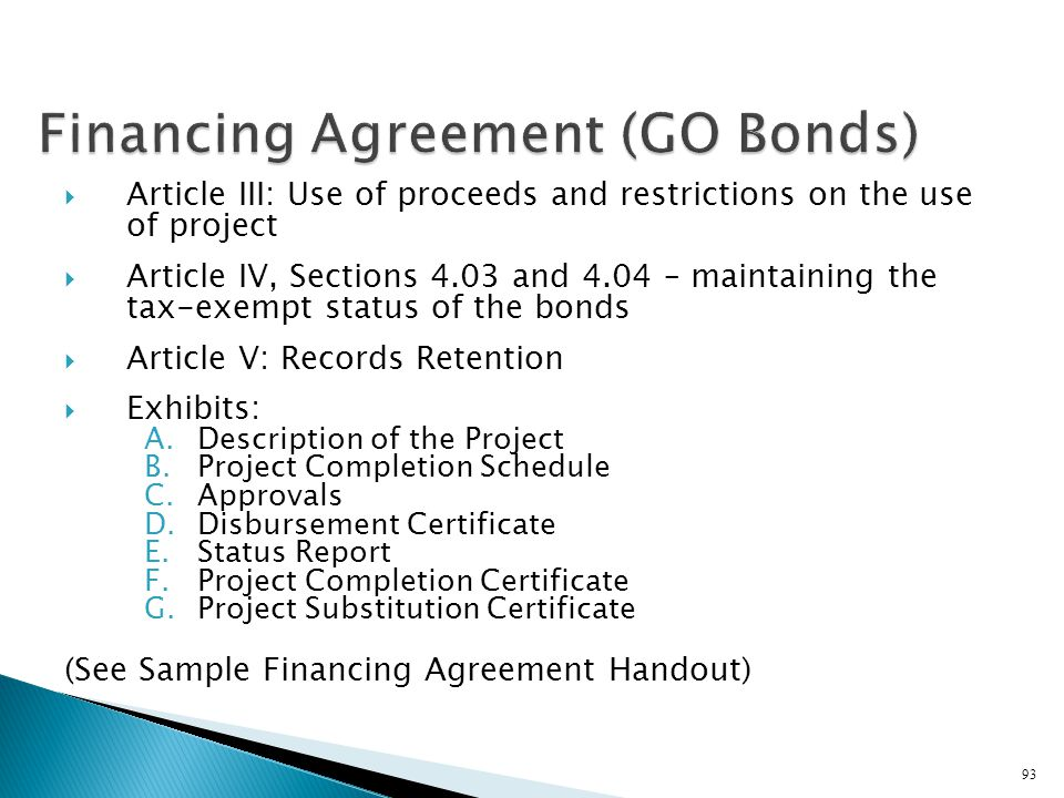 Financing Agreement (GO Bonds)