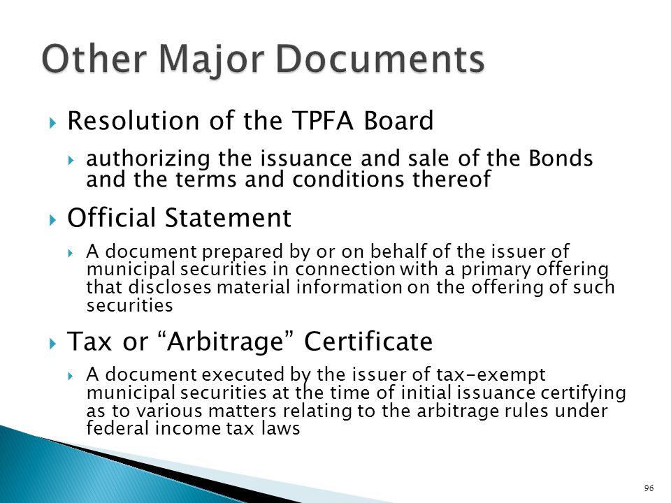 Other Major Documents Resolution of the TPFA Board Official Statement