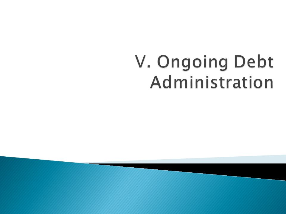 V. Ongoing Debt Administration
