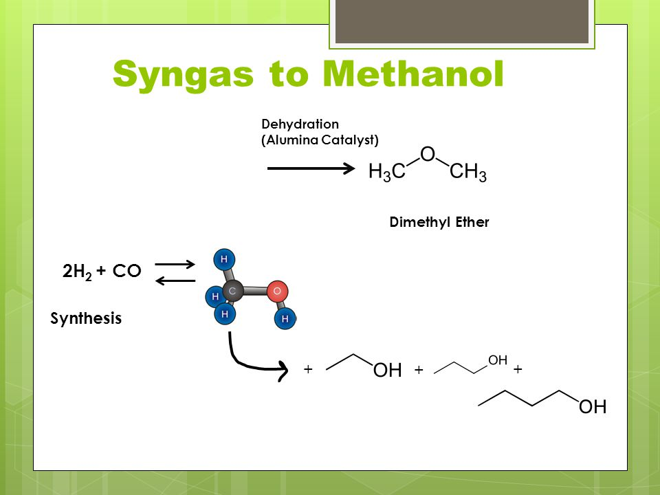 Syngas to Methanol 2H2 + CO Synthesis + + + Dimethyl Ether Dehydration