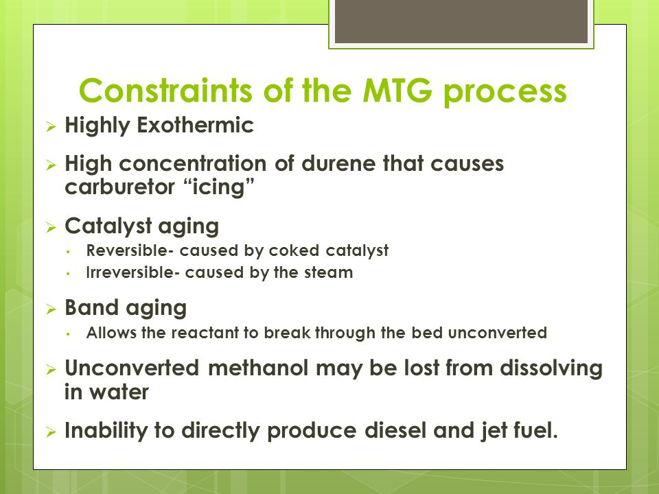 Constraints of the MTG process