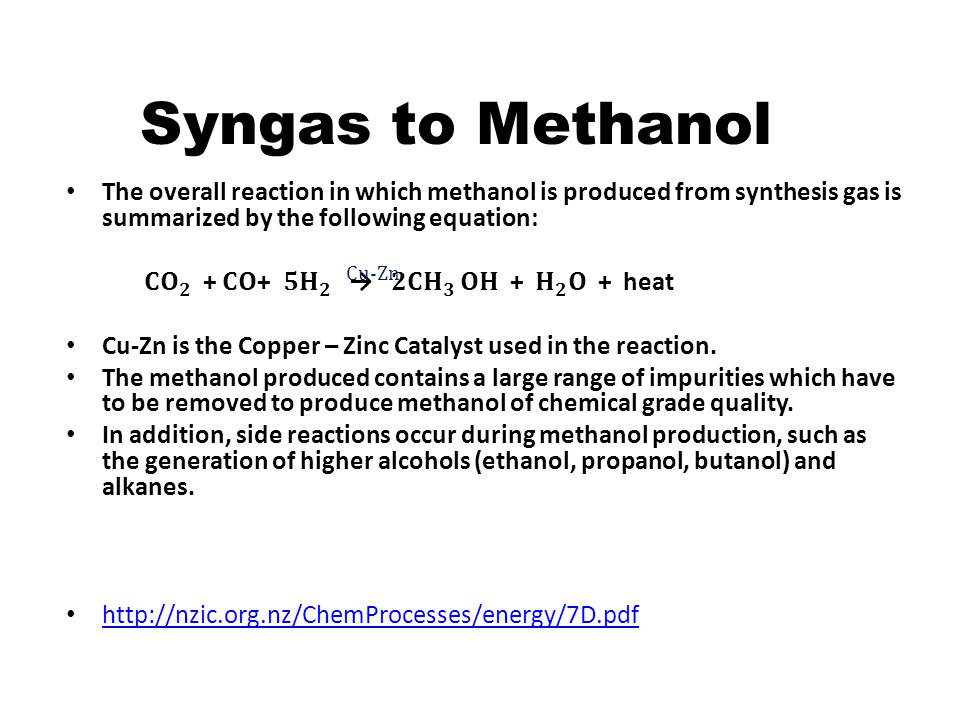 Syngas to Methanol The overall reaction in which methanol is produced from synthesis gas is summarized by the following equation: