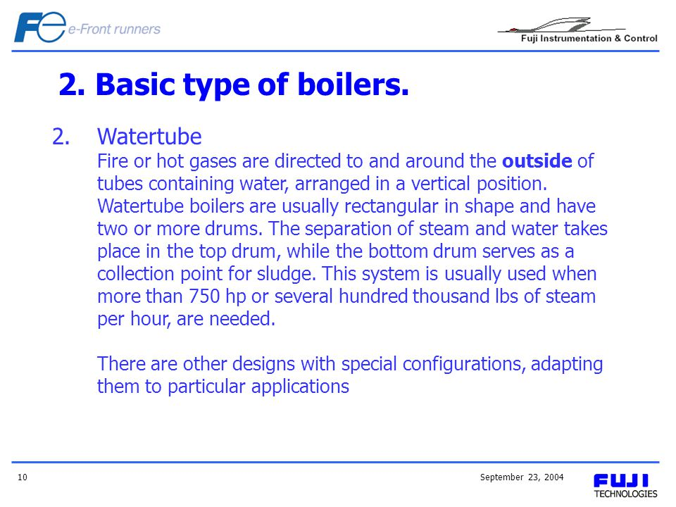 2. Basic type of boilers. Watertube