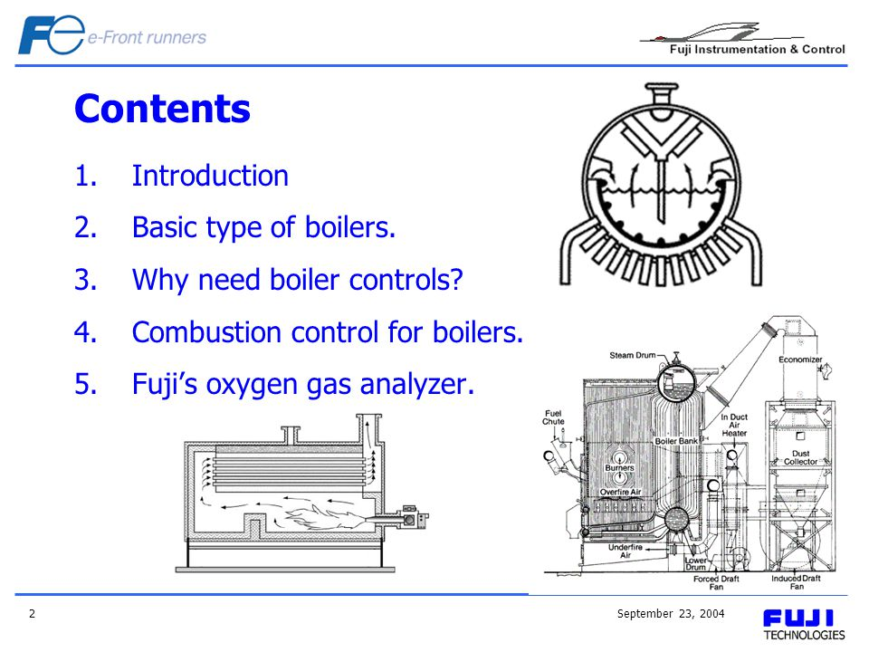 Contents Introduction Basic type of boilers. Why need boiler controls