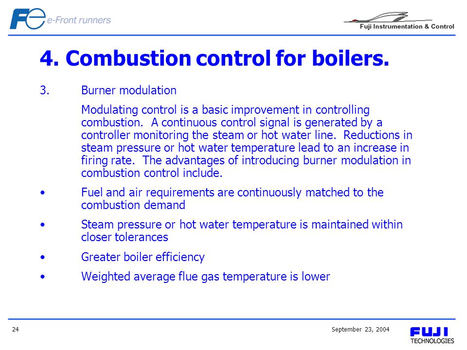 4. Combustion control for boilers.