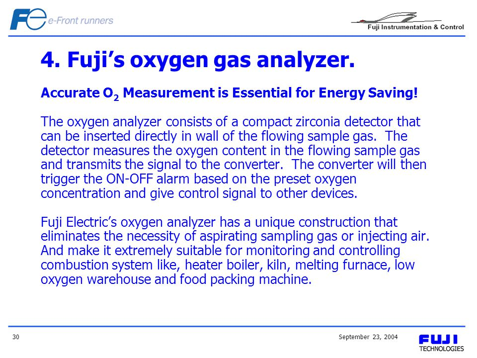 4. Fuji's oxygen gas analyzer.
