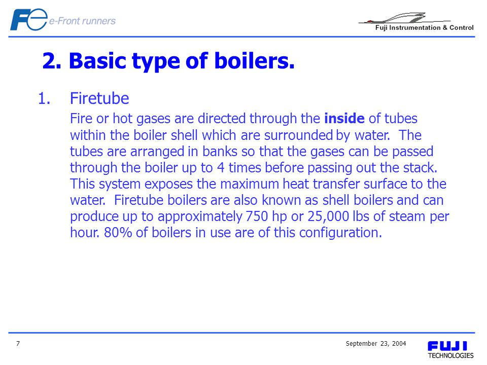 2. Basic type of boilers. Firetube