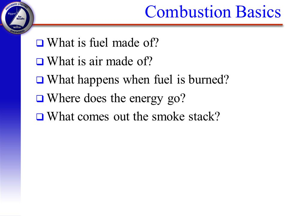 Combustion Basics What is fuel made of What is air made of