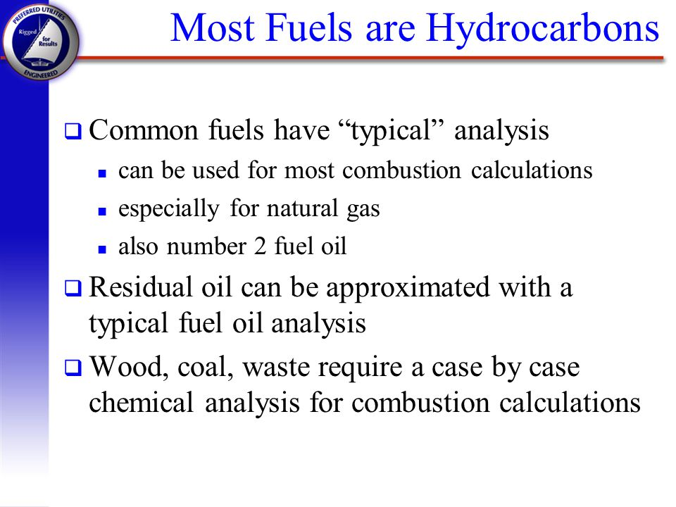 Most Fuels are Hydrocarbons